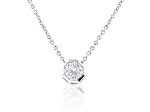 0.80 Carat Round Brilliant Cut Diamond Pendant Necklace (18K White Gold) - Jewelry Boston
