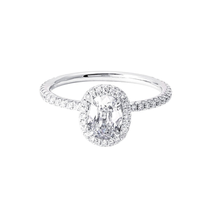 0.81ct Oval Cut Halo Diamond Ring (White Gold) - ENGAGEMENT Boston