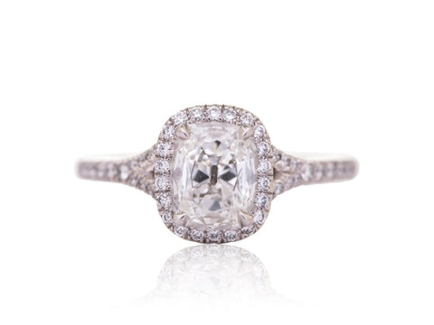 0.84 Carat Cushion Cut Diamond Engagement Ring (18K White Gold) - Jewelry Boston