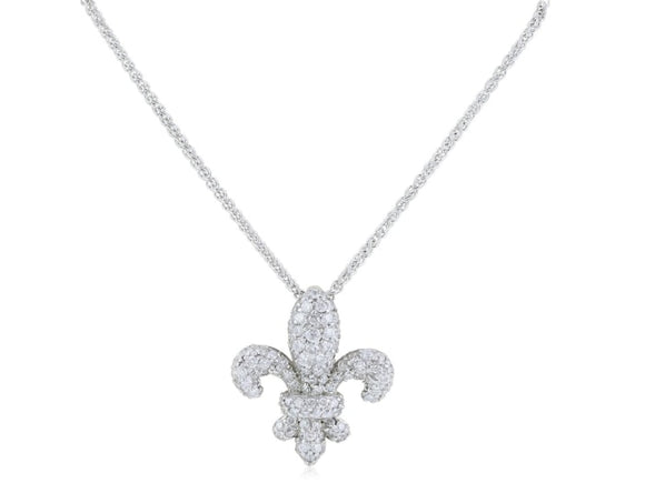 0.87 Carat Diamond Fleur De Lis Pendant Necklace (18K White Gold) - Jewelry