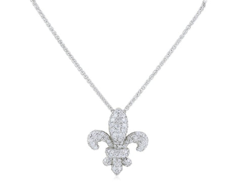 0.87 Carat Diamond Fleur De Lis Pendant Necklace (18K White Gold) - Jewelry Boston