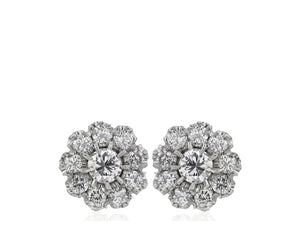 0.88 Carat Round Brilliant Cut Diamond Cluster Earrings G / Si1 (14K White Gold) - Jewelry Boston