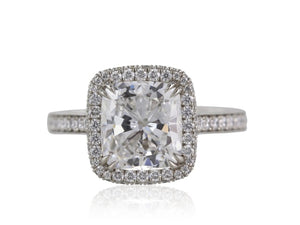 0.89 Carat Cushion Cut Halo Style Diamond Engagement Ring (Platinum) - Jewelry Boston