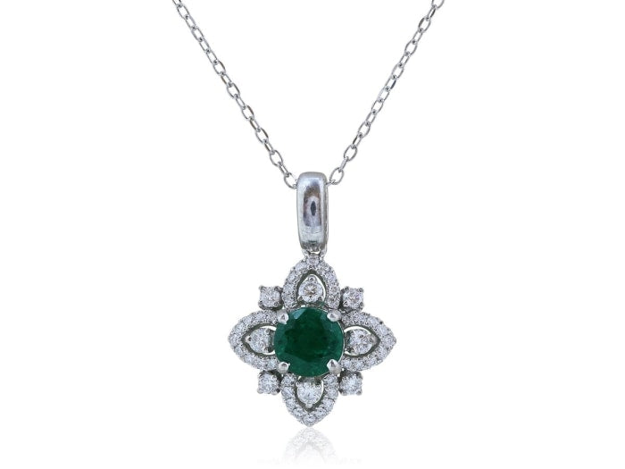 0.90 Carat Emerald And Diamond Pendant Necklace (14K White Gold) - Jewelry Boston