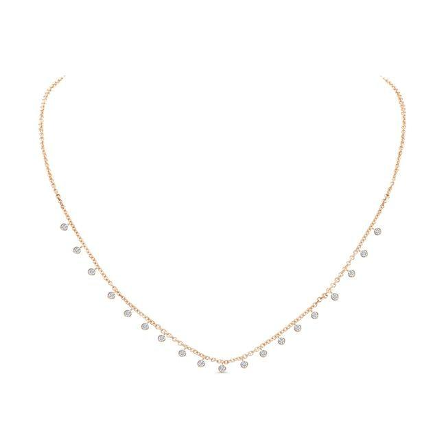 0.90ctw Round Bezel Diamond Necklace (Rose Gold) - Jewelry Designers Boston