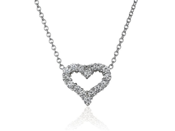 0.90 Carat Heart Shape Diamond Pendant Necklace (18K White Gold) - Jewelry Boston