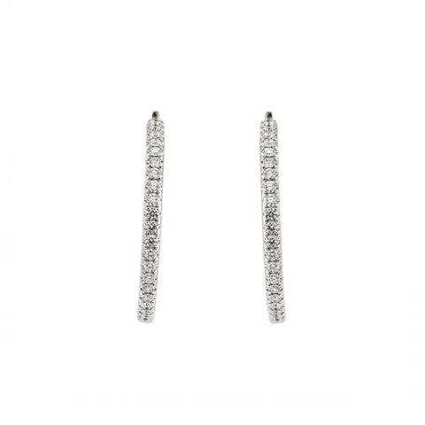 0.90cts Diamond Hoops Earrings (18K White Gold) - JEWELRY Boston