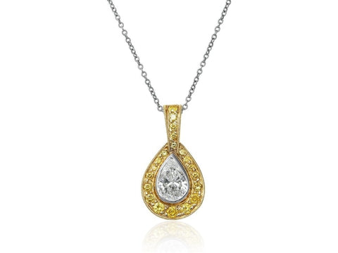 0.92 Carat Colorless And Canary Diamond Pendant Necklace (Platinum) - Jewelry Boston