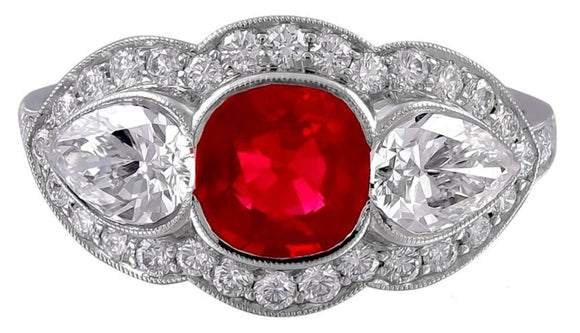 0.92 Carat Ruby And Diamond Ring (Platinum) - Jewelry Boston
