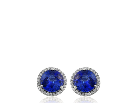 0.93 Carat Round Cut Sapphire Earrings W/ Diamonds (14K White Gold) - Jewelry Boston