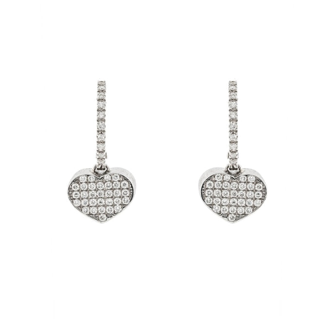 0.96ctw Heart Pave Drop Earrings (Two Tone) - JEWELRY Boston