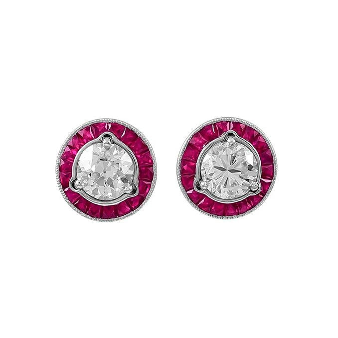 0.97ct Ruby Cut Earrings Jackets (Platinum) - JEWELRY Boston