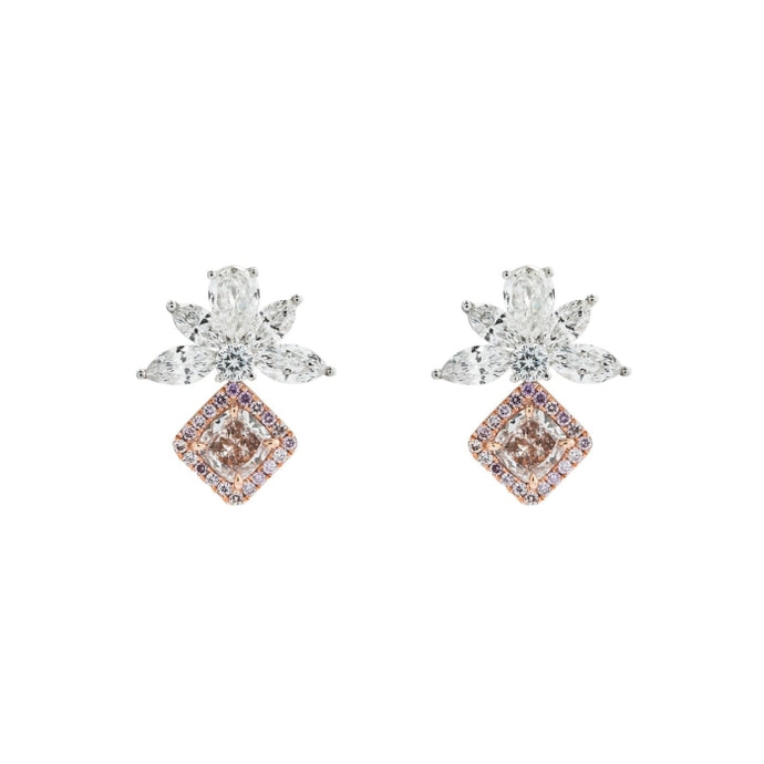 0.98ct Pink Cushion Diamond Drop Earrings (Two Tone) - JEWELRY Boston