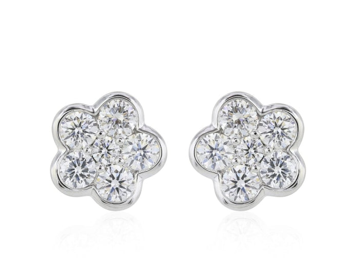 1.00 Carat Round Brilliant Cut Flower Shaped Diamond Stud Earrings F / Si1 (14K White Gold) - Jewelry Boston