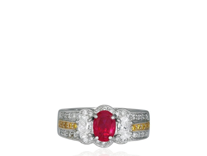 1.00 Carat Ruby And Diamond Ring (Platinum) - Jewelry Boston