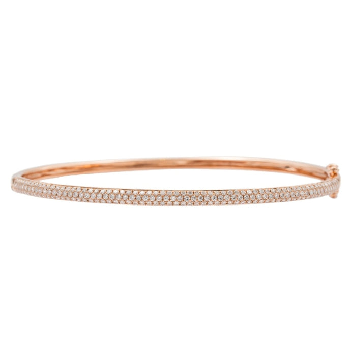 1.00ct Diamond Pave Bangle Bracelet (18k Rose Gold) - JEWELRY Boston