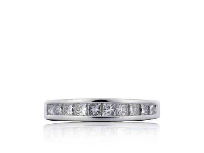 1.00ctw Invisible Set Princess Cut Diamond Band (White Gold) - JEWELRY Boston