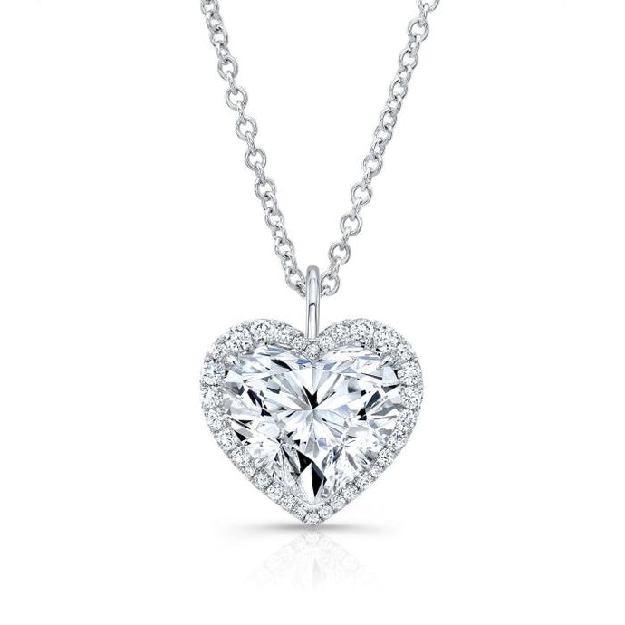 1.01ct Heart Shape Diamond Halo Pendant Necklace (GIA Certified White Gold) - Jewelry Designers Boston