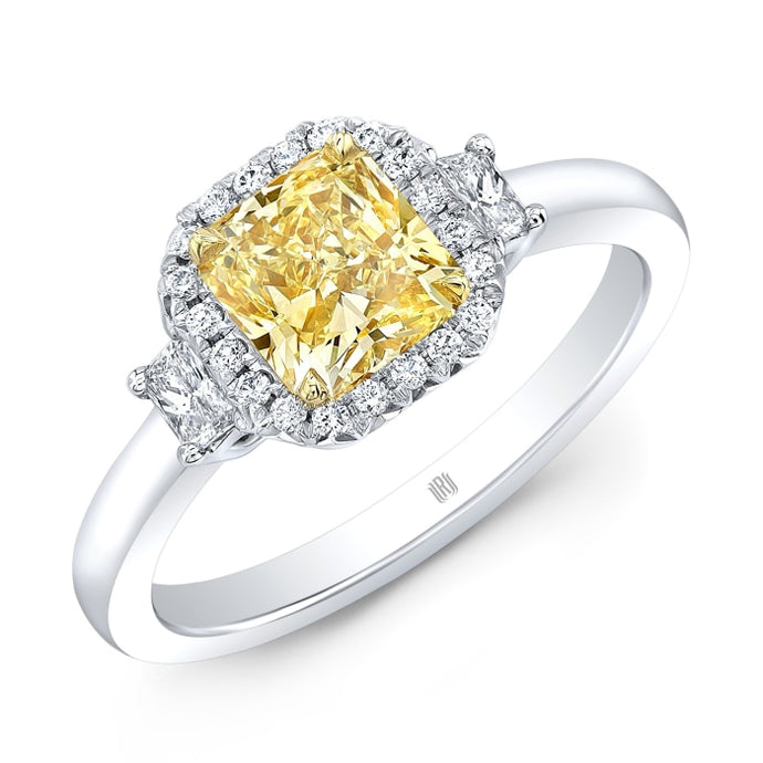 1.01ct Fancy Yellow Radiant Cut 3-Stone Diamond Ring (Two Tone) - ENGAGEMENT Boston