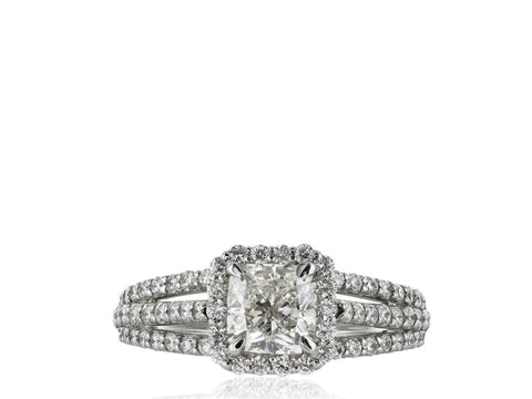 1.02 Carat Cushion Cut Solitaire Diamond Engagement Ring (Platinum) - Jewelry Boston