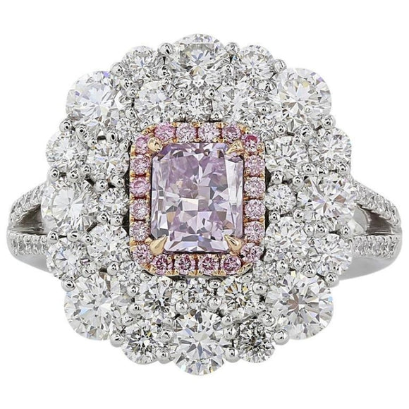 1.02 Carat Gia Fancy Pink/purple Diamonds With 2.97 Carat Diamonds - Jewelery Boston