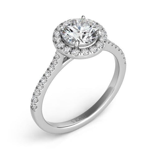 1.02 Carat Round Brilliant Cut Halo Style Diamond Engagement Ring (14K White Gold) - Jewelry Boston