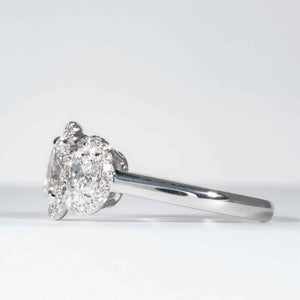 1.03 carat D VS1 Oval cut Diamond 3-Stone Halo White Gold Ring (GIA Certified) - ENGAGEMENT Boston