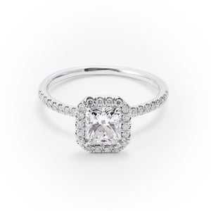1.03ct Radiant Cut Diamond Halo Ring (GIA D/SI2 18k White Gold) - JEWELRY Boston
