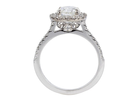 1.04 Carat Round Brilliant Cut Diamond Engagement Ring (18K White Gold) - Jewelry Boston