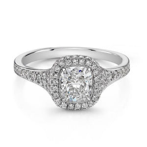 1.05ct. Cushion Cut Halo Ring (GIA Certified Platinum) - ENGAGEMENT Boston