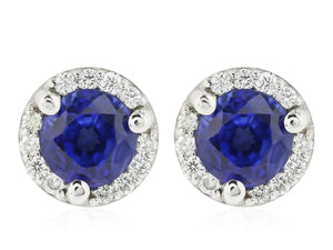 1.06 Carat Blue Sapphire And Micropave Diamond Stud Earring - Jewelry Boston