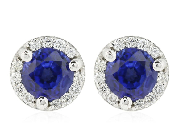 b1e5f98eca11e 1.06 carat Blue Sapphire and Micropave Diamond Stud Earring