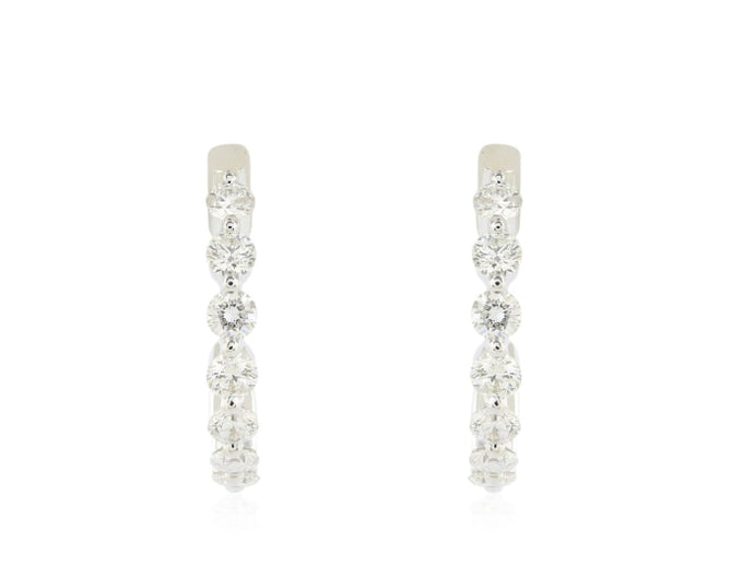 1.06 Carat Diamond Hoop Earrings (14K White Gold) - Jewelry Boston
