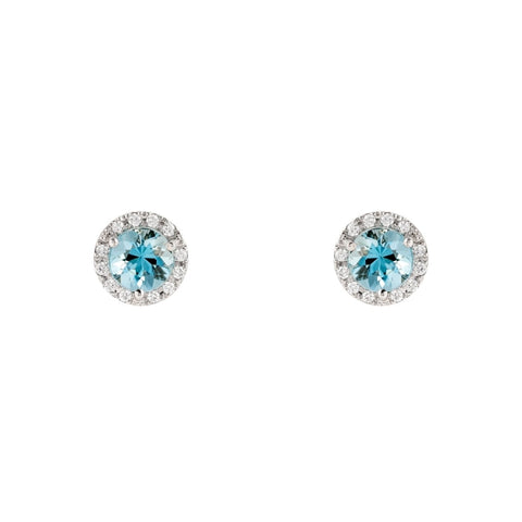1.07ct Aquamarine & Diamond Halo Stud Earrings (14k White Gold) - JEWELRY Boston