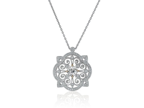 1.09 Carat Open Work Diamond Pendant Necklace (18K White Gold) - Jewelry Boston