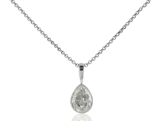 1.10 Carat Antique Pear Cut Diamond Pendant - Jewelry Boston