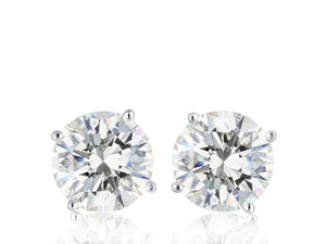1.10 Carat Round Brilliant Cut Diamond Stud Earrings (14K White Gold) - Jewelry Boston