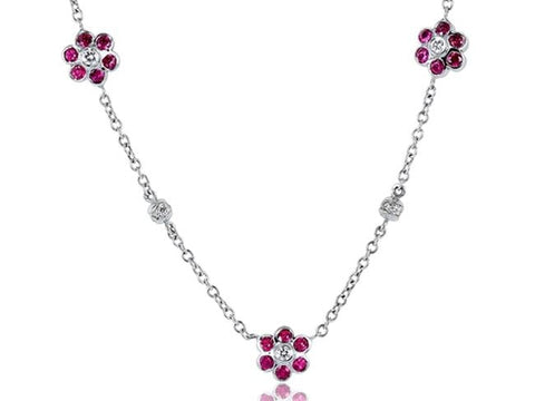 1.10 Carat Ruby And Diamond Floral Necklace (18K White Gold) - Jewelry Boston