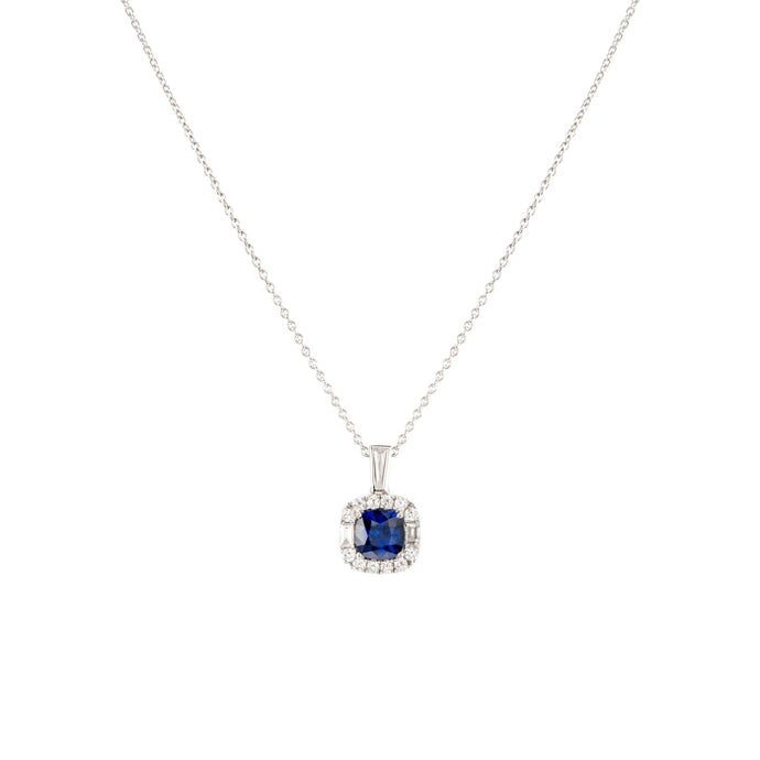 1.10CTW Sapphire and Diamond Pendant (White Gold) - JEWELRY Boston