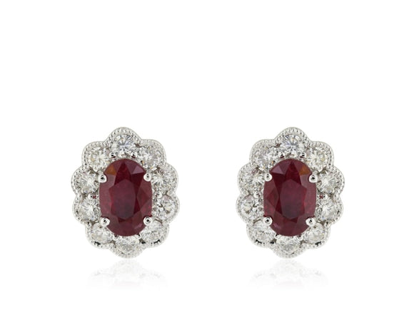 1.12 Carat Ruby & Diamond Stud Earrings (14K White Gold) - Jewelry Boston