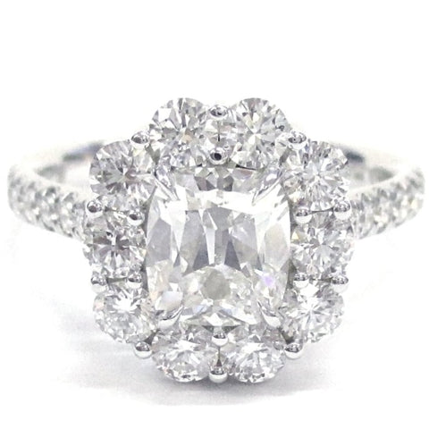 1.13 Carat Cushion Cut Diamond Engagement Ring (Platinum) - Jewelry Boston
