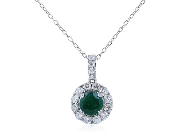 1.15 Carat Emerald And Diamond Pendant Necklace (14K White Gold) - Jewelry Boston