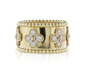 1.16 Carat Wide Flower Diamond Band (18K Yellow Gold) - Jewelry Boston