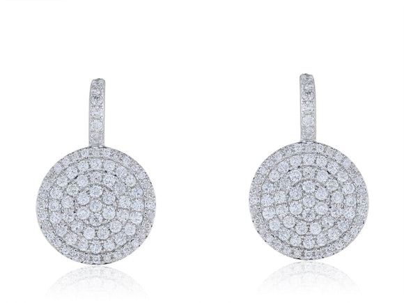 1.18 Carat Pave Diamond Circle Earrings - Jewelry Boston