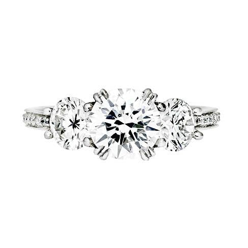 1.19 Carat Round Brilliant Cut 3 Stone Diamond Engagement Ring (Platinum) - JEWELRY Boston