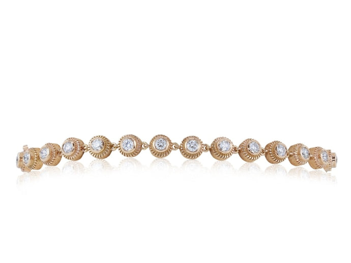 1.19ctw Diamond Bezel Set Bracelet (Rose Gold) - JEWELRY Boston