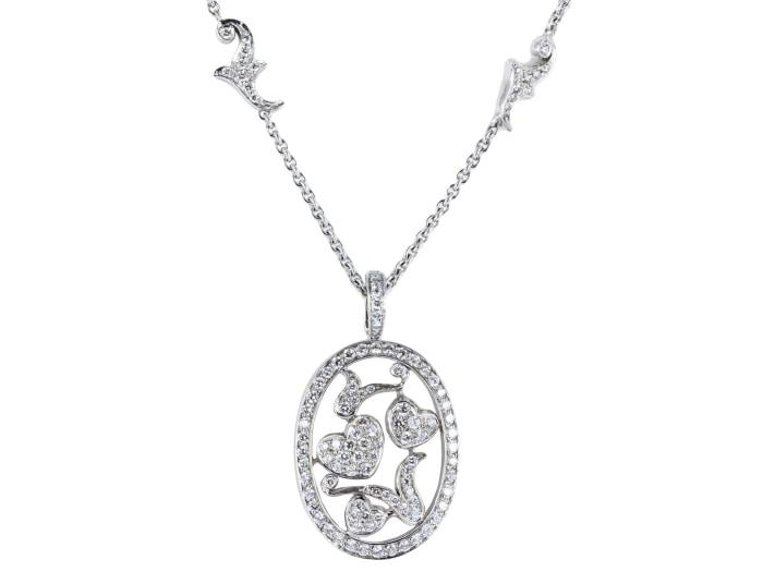 1.20 Carat Pave Diamond Pendant Necklace - Jewelry Boston