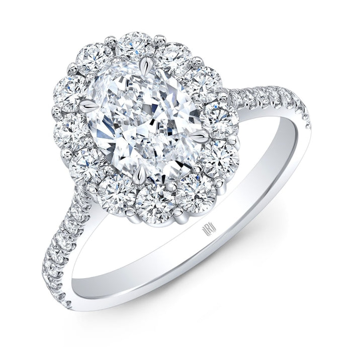 1.20ct Oval Diamond Halo Ring (GIA Certified White Gold) - ENGAGEMENT Boston