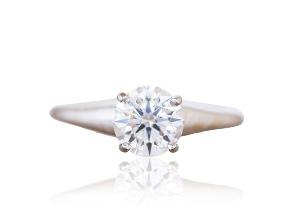 1.21 Carat Round Brilliant Cut Solitaire Diamond Engagement Ring (18K White Gold) - Jewelry Boston