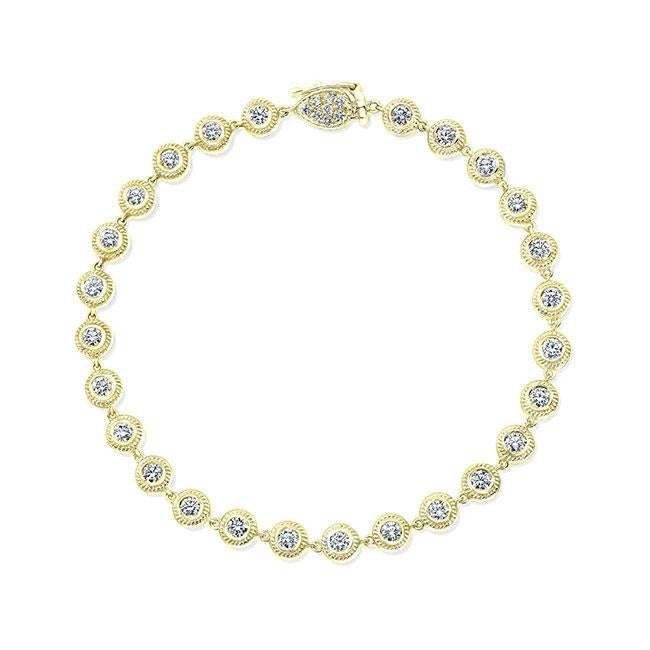 1.23ctw Round Diamond Bezel Bracelet (Yellow Gold) - Jewelry Designers Boston